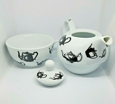 Antique Pewter Paul Cardew Tea for One Set Teapot with Cup Designed in England