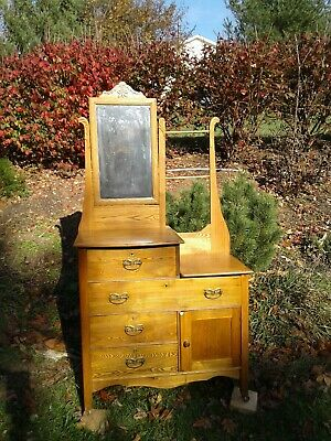 Antique vintage Wash Stand with beveled mirror