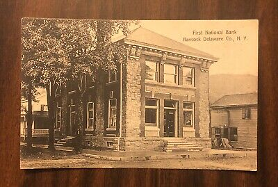 Hancock, New York NY 1909 Postcard 1st First National Bank Delaware County