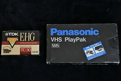 Panasonic PlayPak VHS-C to VHS Adapter + TWO VHS-C Tapes