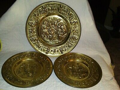 Vintage Lot of 3 Stamped Brass Plates, Made in England, Wall Hanging Antiques