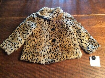 Cheetah Faux Fur Coat NWT $60 Girls 4 S Jumping Beans Button Coat