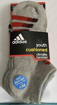adidas athletic 3 Pair Youth Clima Lite No show Socks Boys/Girls