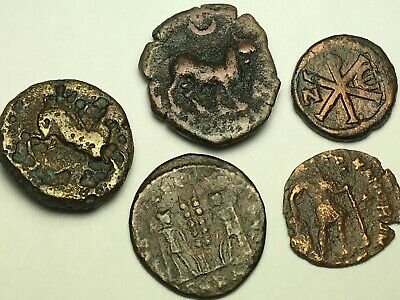ANCIENT AUTH. 5 RARE$ Coins; 1 GREEK 400 BC, 3 ROMAN 307 AD & 1 BYZANTINE 527 AD