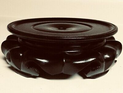 """Chinese Carved Lotus Shape 6 1/4"""" Rosewood Vase Stand"""