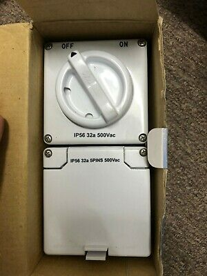 New Australec 10A, 5 Round Pins Industrial Switch & Socket With 2 Gangs Back Box
