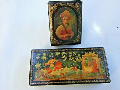 Vintage  2X Russian  Black Lacquer Jewellery Trinket Boxes Hand Painted