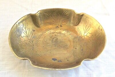 Heavy Antique/Vintage Hand Etched Solid Brass Bowl Warriors, Lotus Blooms, China