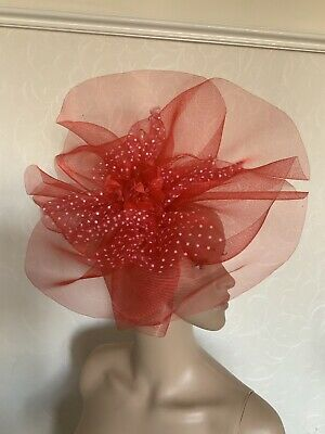 Extra Large Red White Statement Fascinator Wedding Ladies Day Accessories
