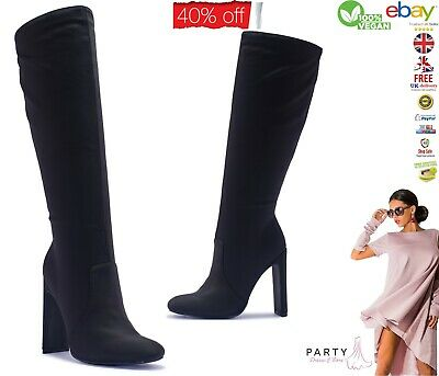 Ladies Over The Knee Boots, Black Stretch Long Boots, Womens Block Heel Boots