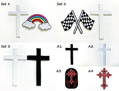 """Latin Equal Cross 1 7//8/"""" *Colors* Iron On Patch Applique 47.6mm"""