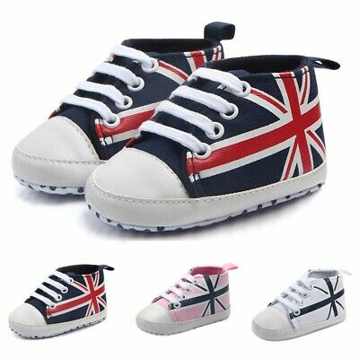 Newborn Infant Baby Union Flag Canvas Anti-slip Soft Shoes Kids Toddler Sneakers