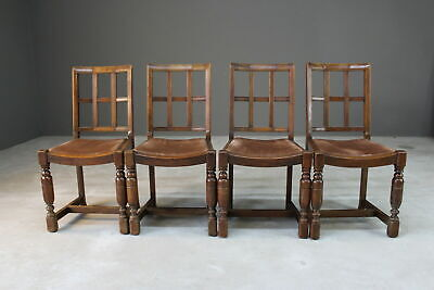 Set 4 Arts & Crafts Heals Style Oak Lattice Back Dining Chairs