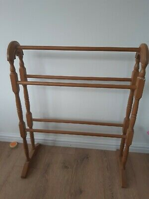 Wooden towel rail free standing Victorian vintage style