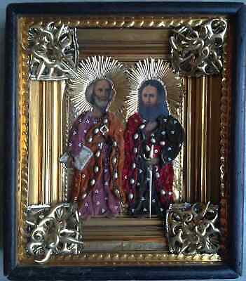 """Antique 19c Russian Orthodox Hand Painted Wood Icon """"Peter and Paul"""""""