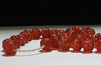 Strand of 39 x Egyptian Red Carnelian Rosettes Amulets