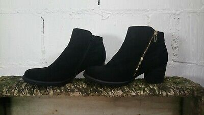 Womens Girls River Island Black Faux Suede Ankle Boots Size 4
