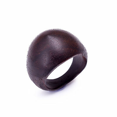 Tibetan Antique Black Wood Carved African Tribal Wooden Ring 9.25 US AB-1250