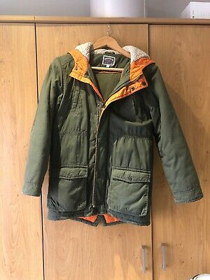Fat Face Boys Age 12-13 Years Green Parka style padded winter coat