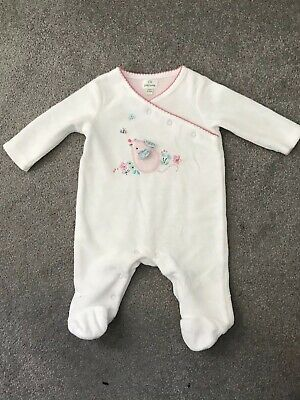 John Lewis Baby Girl White Velour Mouse Sleepsuit - Newborn - New Without Tags