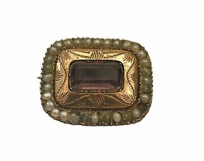 antique 18th century Georgian Brooch Set With Pearls And An Amethyst