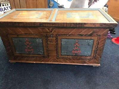 Large Antique German Wedding Chest Pine Trunk Storage 19th Century, Hand Painted