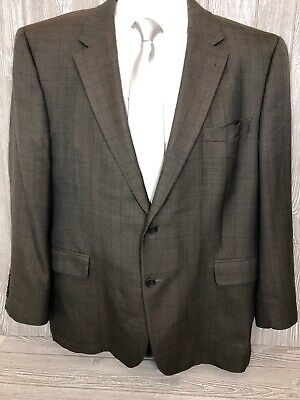 Jos A Bank Signature Mens Taupe Plaid Silk Wool Blend Sport Coat 46R (tt)