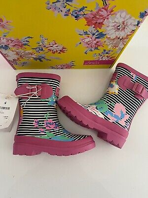 Bnwb Joules Girls Welly Navy Floral Stripe Size Uk 9