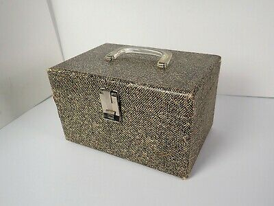 Vintage Vacationer Travel Box w Lucite Handle, Sewing Mirror Includes Key