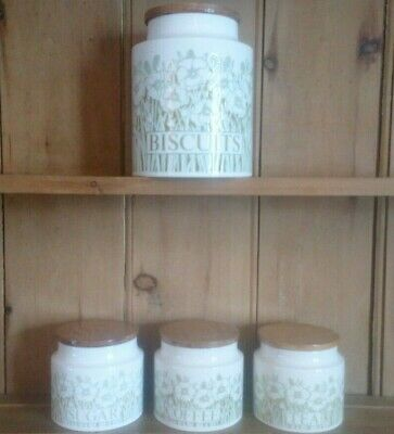 Retro Hornsea Pottery Storage Set, Fleur Pattern, Good Condition