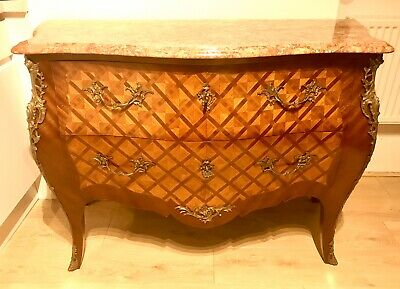 Antique French King Wood Parquetry Bombe Chest Of Drawers With Rouge Marble Top