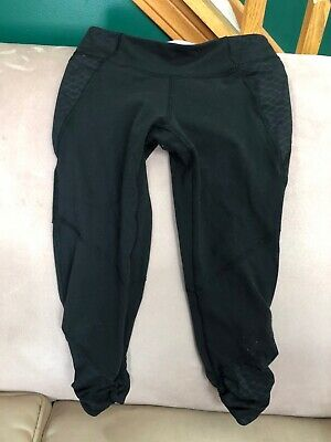 Girls ivivva black capri work out pants size 10  made by lululemon