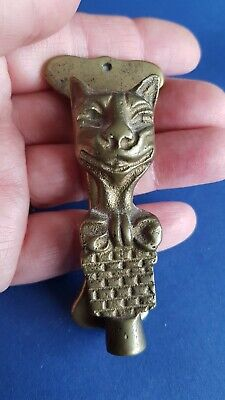 Brass Door Knocker Cheshire Cat With Bow Hardware Salvage Vintage Small