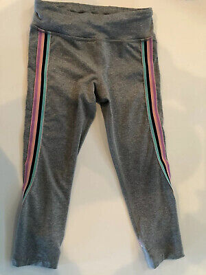 Athleta Girls Size Small, 7, Grey With Side Stripe Athletic Tights, Cropped,Cute