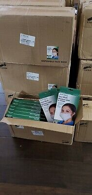 Assured 3-ply face mask, earloop, 1 case, total 240 masks (24 boxs, 10 mask/box)