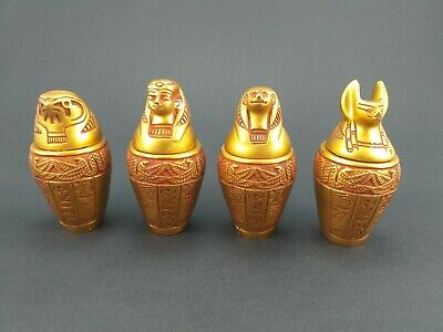 New 4 Piece Small Canopic jars Set Egyptian Pharaonic figurine Statue Carved God