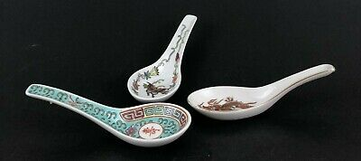 Grouping of Three Chinese Porcelain Soup Spoons