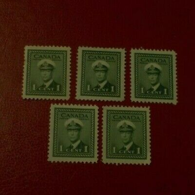 Canada Mint Never Hinged Stamp SC 249 War Issue George VI MNH Lot Of 5 Stamps