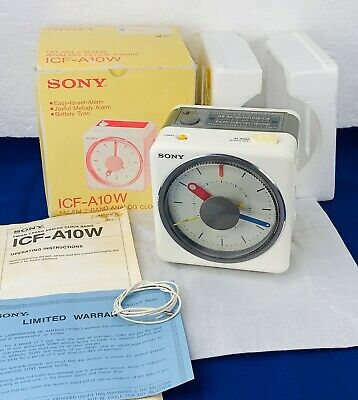 Sony Clock Radio Alarm Melody ICF-A10W White Vintage 1980s In Box & Manuals RARE