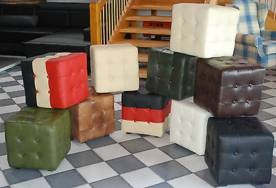 Chesterfield Stool 100% Genuine Leather Bench Seat Ottoman Cube Stool Antique