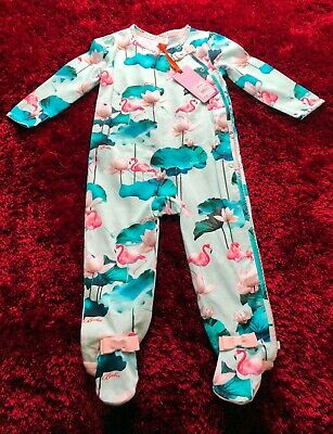 BNWT 12-18 months Ted Baker Baby Girls Green Flamingo Lotus Sleepsuit NEW