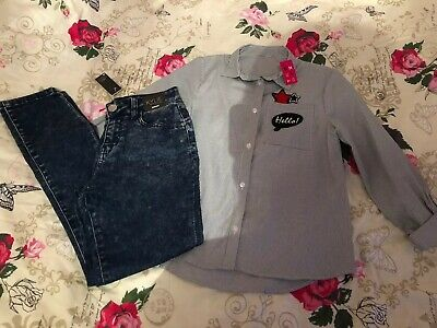 Girls BNWT Age 10-11 Skinny Jeans Striped Shirt Outfit M&Co Kylie Nutmeg