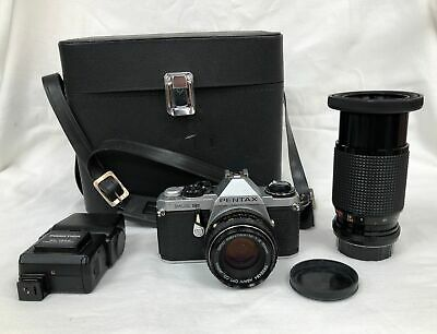 Vintage Pentax ME Super SLR Film Camera With 50mm Lens + Sunagor Lens #124