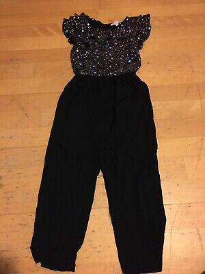 Bluezoo Girls Black Silver Star Print Jumpsuit Age 6