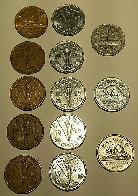 1942 1943 1945 1951 1953 1975 Canada Nickel 5 Cents Coin Lot of 13
