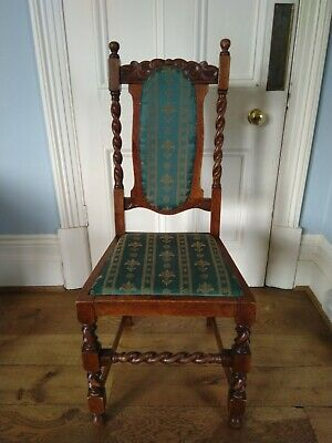 Oak chair antique carved Victorian gothic for hall or dining room