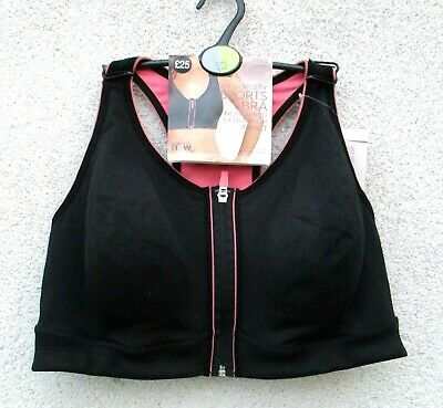 Marks & Spencer Black Post Surgery Sports Bra X High Impact Front Zip Non Wired