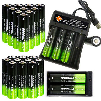 9900mAh 18650 Rechargeable Battery Li-ion Lithium 3.7V With Dual Charger Cell UK