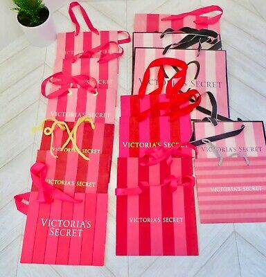 20 VICTORIA/'S SECRET PINK STRIPE MEDIUM SIZE PAPER SHOPPING GIFT BAGS USED