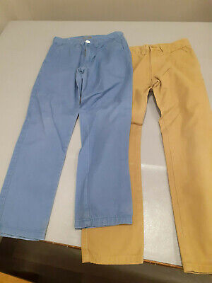 2 x Boys Denim & Co Slim Fit Chino Style Trousers Size 7-8 Years
